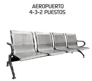 Tandem aeropuerto cromada de 2, 3 y 4 asientos sin cojines