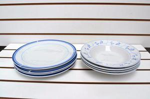 Vajilla Redonda Azul 12 Piezas De Porcelana Nueva En Caja