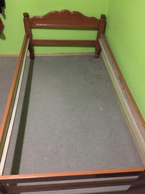 Catre cama de madera plaza y media bien posot class for Cama de plaza y media