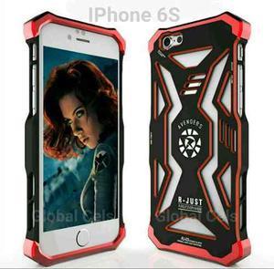 Case Funda Iphone 6 Plus Metal + Pc Diseño Black Widow