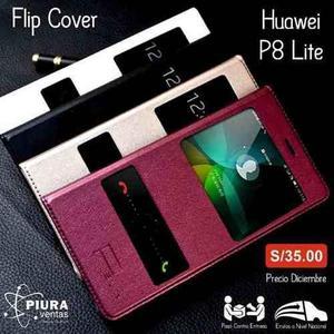 Flip Cover Para Huawei P8 Lite Con Logo En Alto Relieve