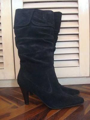 Botas Negras Talla 35 De Cuero Genuino Aldo 100% Original