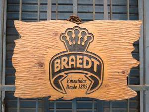 Antigua Publicidad De Braedt En Madera Muy Decorativa