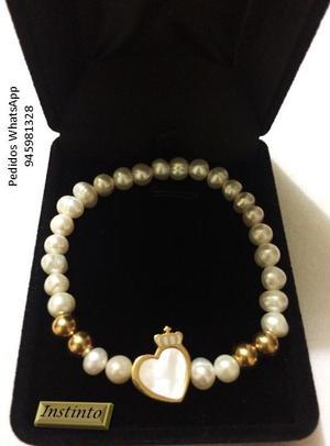 e977e854c40f Pulseras de perlas de río piedra y muranos