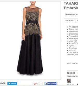 Vestido de noche Tahari Talla 10 M, Nuevo
