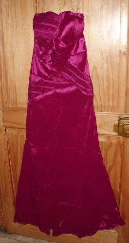 Vestido De Fiesta Largo De Tafeta Elastica Fucsia Americana