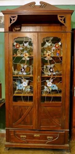 Mueble Vitrina De Madera Antiguo Con Vidrios Adornados