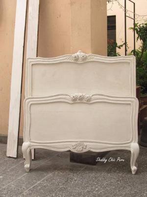 Antigua cama estilo luis xv de 2 plaza restaurar posot class for Cama luis xv