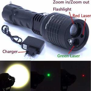 Linterna Táctica Led Laser Verde, Rojo Super Potente Zoom