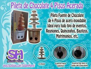 Pileta de Chocolate de 4 pisos de Acero Inoxidable