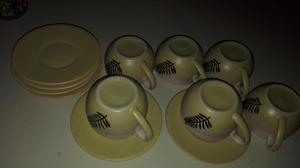 REMATO Juego de 6 tazas de té, con platitos