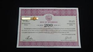 Bono De Desarrollo,republica Del Perú,200 Intis .