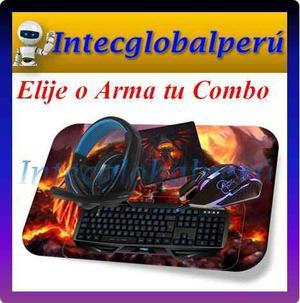 Combo Gamer Teclado + Mouse + Audífono + Mousepad
