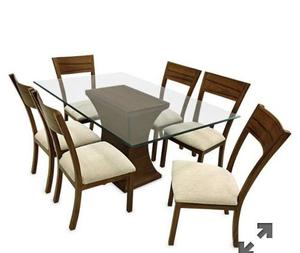 Mesa de comedor madera torneadas nueva 6 sillas posot class for Comedor 6 sillas usado