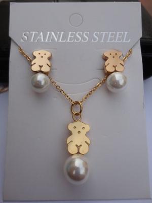 Joyas Juego Collar Cadena Aretes Acero Osito Oro Oso