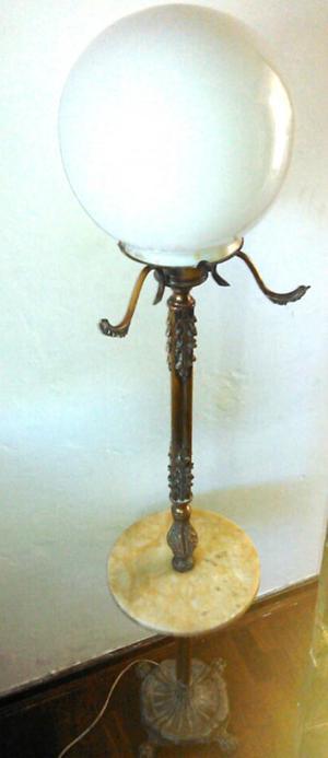 Lampara Antigua Pedestal De Bronce Y Marmol