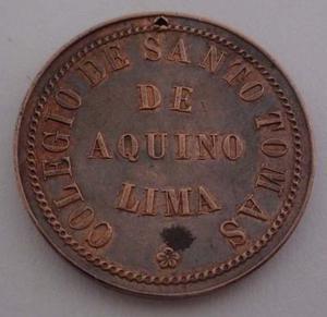 Antigua Medalla Colegio Santo Tomas De Aquino Lima Dominicos