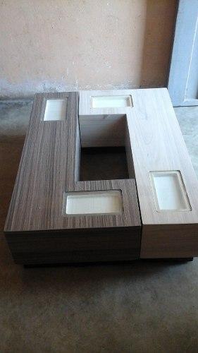 Mesa De Centro Moderna Dos En Uno Modelo L Decorativa