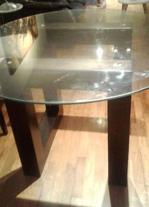Comedor moderno 6 personas madera nogal y vidrio posot class - Mesas de vidrio modernas ...
