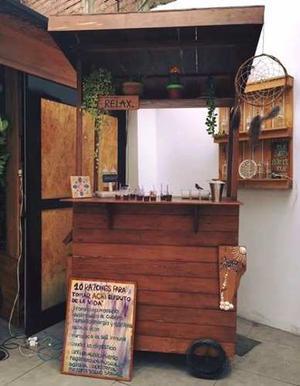 Carrito rodante para negocio de comida jugos posot class for Bar movil de madera