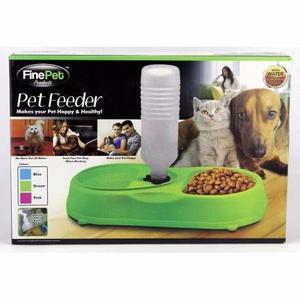 Lince Dispensador De Agua Y Plato De Comida Para Mascotas