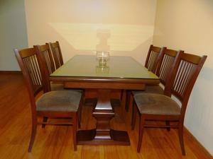 Comedor con mesa extensible y 8 sillas tipo cuero posot - Mesa comedor 6 sillas ...