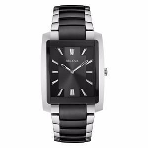 Reloj Bulova Mod: 98a117 Acero Plata Y Negro De Vestir