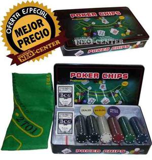 Poker 300 Fichas En Caja Metalica +paño+cartas+ficha Dealer