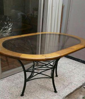 Mesa de madera y vidrio spingo ovalada posot class for Mesas de comedor de vidrio y madera