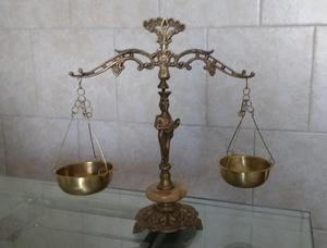 Antigua Balanza de La Justicia de Bronce Y Onix