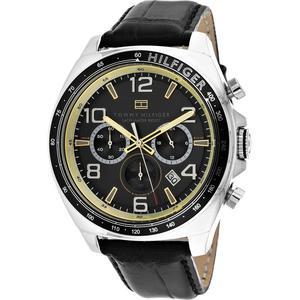 Reloj Tommy Hilfiger Cuero Negro Cuerpo Plateado Nuevo
