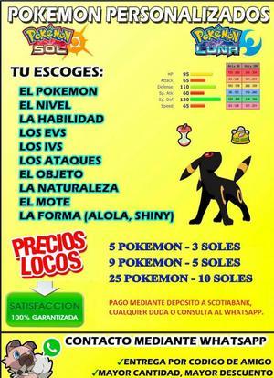 Venta de Pokemon Sol y Luna Competitivos, Legales.