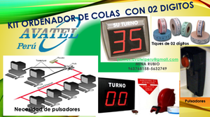 KIT ORDENADOR DE COLAS INALAMBRICAS CON 02 DÍGITOS AVATEL