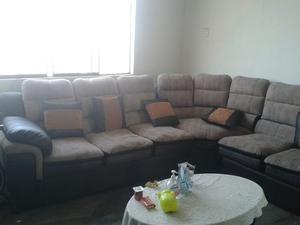 Mueble Seccional De Cuero Blanco Con L