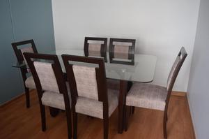 Sillas de comedor laqueadas madera tornillo tapiz posot for Tapiz para sillas de comedor