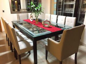 Mesa de comedor ovalado negro de cedro desarmable posot for Comedor 10 personas