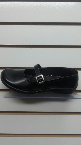 Zapato Escolar De Niña Cuero Genuino. Negro Y Marron