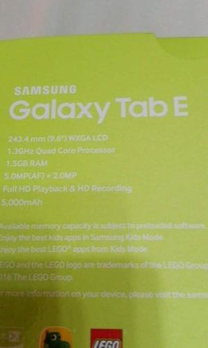 Samsung Galaxy Tab E SMT560 SIM 3G Nuevo Sellado