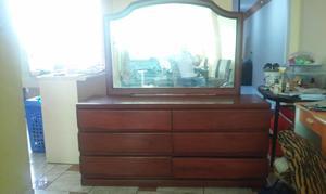 Cómoda de madera cedro 6 cajones más espejo