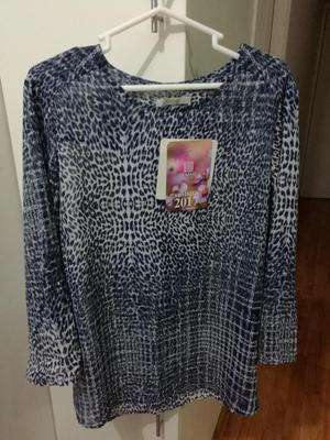 Michelle Belau, Blusa 3/4 con regulador manga, azul, talla