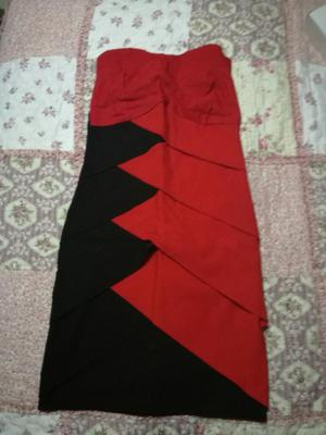 Vestido Sport Elegante Rojo Y Negro