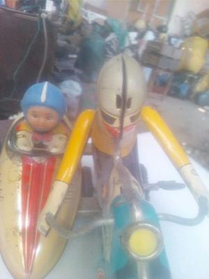 Antiguo Juguete De Lata. Motocicleta.a Cuerda