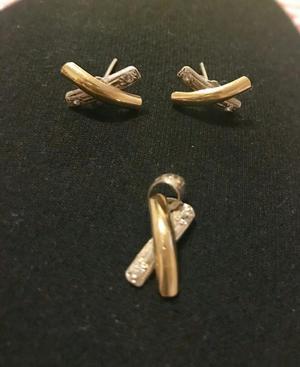 Arete Y Collar de Plata con Oro