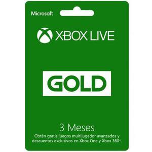 Tarjeta Microsoft Xbox Live Gold 3 Meses - Xbox One Y 360