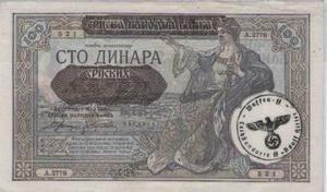 Billete De Serbia Bajo La Ocupación Alemana. . Sello Ah