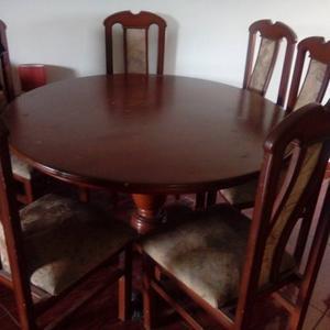 Mesa de comendor de madera con 8 sillas blancas posot class - Mesa redonda con sillas ...