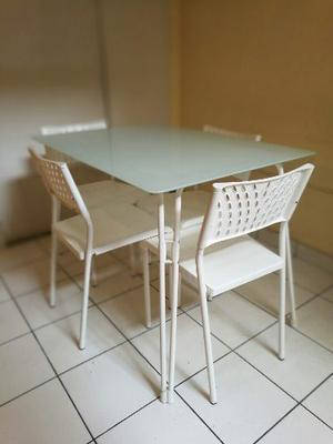 Juego De Comedor De Cocina, Mesa De Vidrio 4 Sillas, Blanco