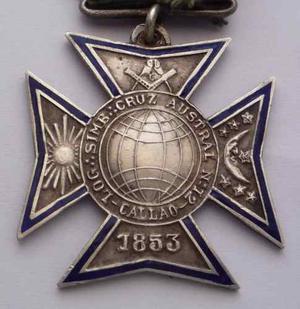 Medalla  Logia Cruz Austral N 12 Callao Plata Mason