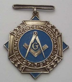 Medalla  Logia Francisco De Miranda N 109 Lima Mason