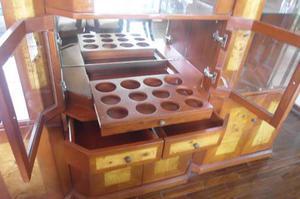 Bar Vitrina Para Sala De Madera Caoba